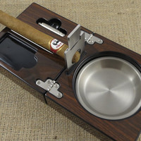 Personalized Cigar Ash Tray with Guillotine Cutter - Gifts for men - Gifts for Grandfather
