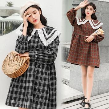 Japanese Women's Harajuku Dress Fashion Casual Mori Girl Lolita Lace Peter Pan Collar High Waist Plaid Dress
