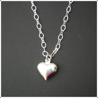 Silver Heart Necklace - Forever In Love Jewelry Charm Necklace Bridal maid Gift