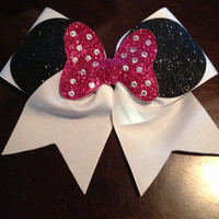3in Minnie Cheer Bow hot pink with rhinestones by BowsByEm on Etsy