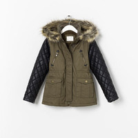 OVERCOAT WITH FAUX LEATHER SLEEVES - Coats - Girl (2 - 14 years) - Kids | ZARA United States