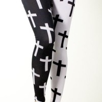 New Celebrity Cross Print Goth Black White Leggings Tights Pants Made in USA