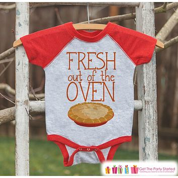 Newborn Thanksgiving Outfit - Fresh Out of the Oven - Infant Thanksgiving Outfit - Baby Girls or Boys - Red Raglan Tshirt or Onepiece