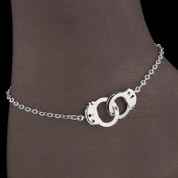 Rhodium Ankle Cuffs - New Age, Spiritual Gifts, Yoga, Wicca, Gothic, Reiki, Celtic, Crystal, Tarot at Pyramid Collection