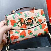 GUCCI New fashion strawberry print leather chain shopping leisure shoulder bag crossbody bag handbag