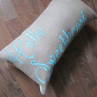 "Cursive Southern Bell  ""Hello Sweetheart"" 11x20 Burlap Brown Decorative Throw Pillow"