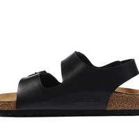 2017 fashion Birkenstock Summer Fashion Leather Cork Flats Beach Lovers Slippers Casual Sandals For Women Men black Couples Slippers size 36-45