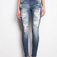 Sandblasted Shred Low-Rise Skinny Jeans