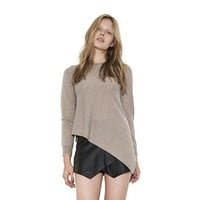 Womens Oatmeal Tate Classic Crewneck Pullover Long Sleeve Sweater By One Grey Day