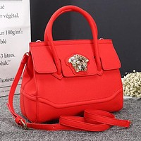 Versace New Popular Women Shopping Bag Leather Handbag Tote Shoulder Bag Crossbody Satchel Red