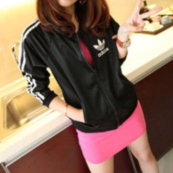 """""""Adidas"""" Women Sport Casual Multicolor Long Sleeve Zip Cardigan Hooded Sunscreen Clothes Coat"""