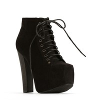 Faux Suede Lace Up Hidden Platforms