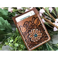 Daisy Tooled Leather Wallet - Business Card Holder