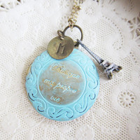 Locket Necklace Turquoise Eiffel Tower Paris Handstamped Customized Personalized Bridesmaids Gift Wedding Initial Letter French Hand Stamp