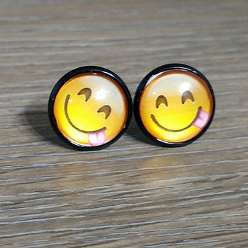 Emoji earrings-  Happy Face with tongue out- in black earrings