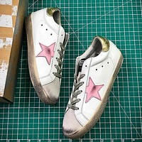 GGDB Golden Goose Uomo Donna Pink Star Fashion White Gold Shoes