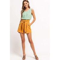 High Waisted Paperbag Shorts - Final Sale