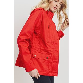 Long Sleeve Stand Collar Safari Anorak Jacket with Pockets