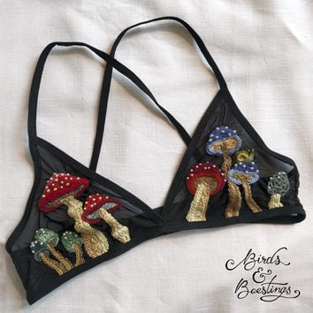 Mystical Mushroom Embroidered Bralette