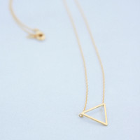 Gold Tiny Triangle Necklace - Triangle necklace