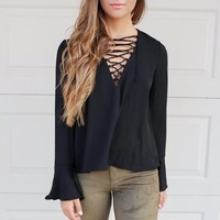 Cala Luna Black Natasha Lace Up Top