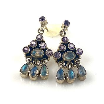 Amethyst & Labradorite Sterling Silver Post Earrings