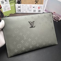 LV Louis Vuitton MEN'S MONOGRAM CANVAS ZIPPY HAND BAG