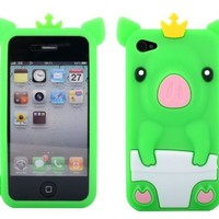 Cute Piggy Pink 3D Pig Silicone Case Cover Skin for iPhone 4 4S 4G Green