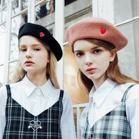 Vintage Women Wool Beret Hat fashion Winter Warn Wool Berets Ladies Heart Embroidery French Style Painter Hats