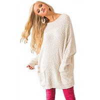 Oversized Popcorn Pullover Sweater