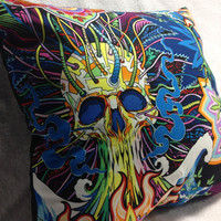 Group One Home®Psychedelic Skull Hippie Accent Throw Pillow