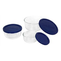 6-Piece Round Glass Food Storage Set with Blue Lids - Made in USA