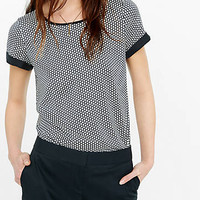 Micro Print Crew Neck Rolled Sleeve Blouse from EXPRESS