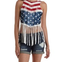 White Combo Americana Fringe Crop Top by Charlotte Russe