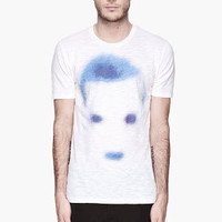 Neil Barrett White And Blue Faded Icon Crewneck T-shirt for men | SSENSE
