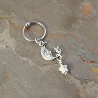 Celestial Moon and Star Cartilage Hoop Captive Earring Belly Ring