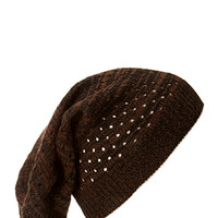 Marled Open-Knit Beanie Brown/Black One