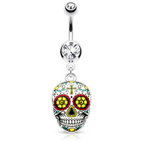 Sugar Skull Day of the Dead Navel Dangle Belly Button Ring (Green)