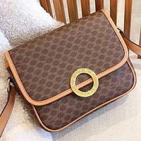 Hipgirls  Celine New fashion pattern print leather shoulder bag crossbody bag