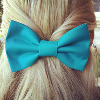 BIG Turquoise hair bow1