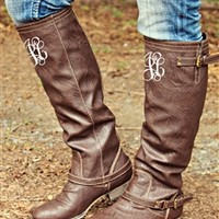 Brown Indian Outlaw Riding Boot with MONOGRAM