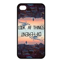 First Design Funny Quotes For Life look at things different RUBBER iphone 4 4s Durable Case