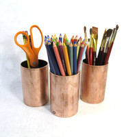 Pencil Cup Desk Accessory - Recycled Copper Pipe