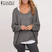 Spring Autumn Women Blouse Fashion Batwing Long Sleeve Casual Loose Solid Color Shirt Plus Size Sexy Tops Blusas