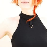 Cowl Neck  Black Top, Open Back, Backless tank, Spring Summer Top, Steampunk, Punk Clothes
