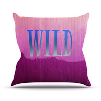 "Catherine McDonald ""Wild"" Pink Purple Outdoor Throw Pillow"