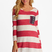 Cranberry Striped Tribal Print Pocket Knit Maternity Top