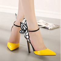Big Size 2016 Thin High Heels Women Pumps 8/11cm ,Butterfly Heels Sandals,Sexy Wedding Shoes Party  yellow purple black