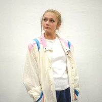 vtg 90s white pastel jacket, 1990s windbreaker, pink blue orange, vintage 80s, tumblr, american apparel, soft grunge, vaporwave fashion
