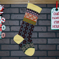 Hand Knit Argyle Christmas Stocking, Fair Isle Kint in Yellow, with Orange Ivy and Taupe Snowflakes, can be personalized, Housewarming Gift